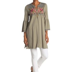 Johnny Was Axton Embroidered Bell Sleeve Tunic